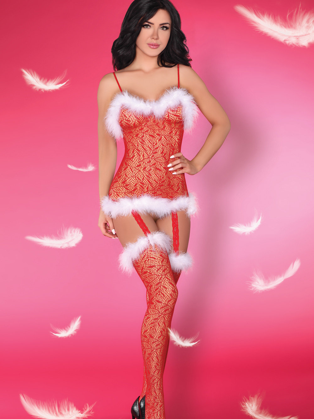 Catsuit CATRIONA CHRISTMAS Rosu